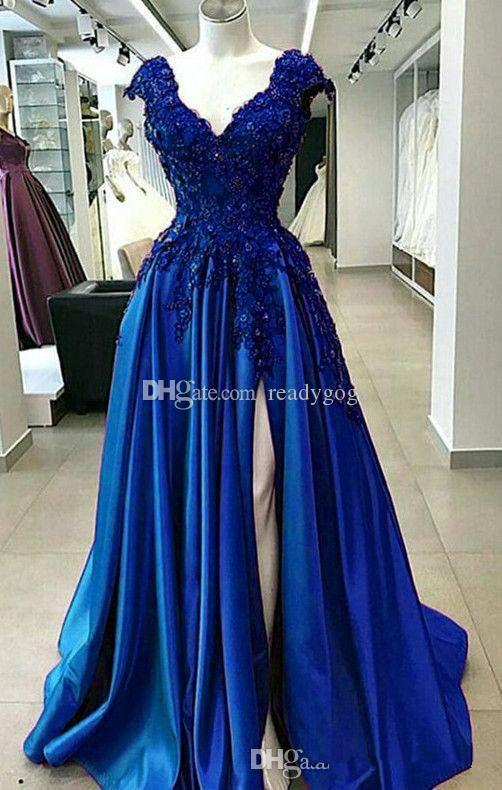 Sexy Royal Blue Chiffon Long Party Plus Size Prom Dresses Split Front Cheap Free Shipping 2019 New A Line Elegant Formal evening Gown