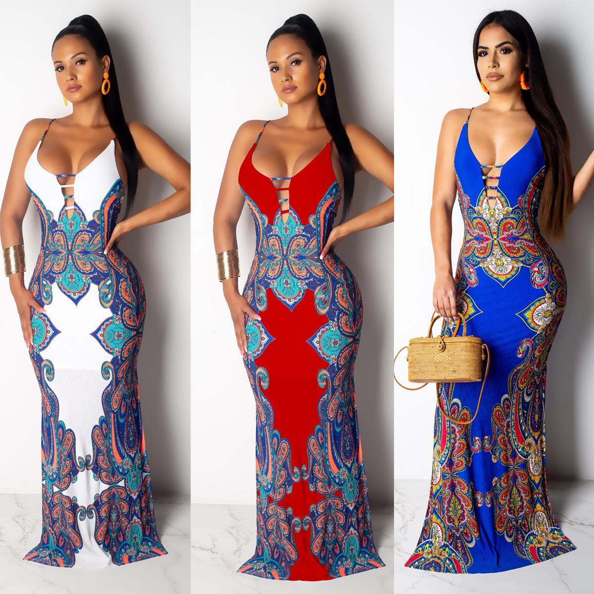 Yaz Kadın Baskılı Elbiseler Moda Ulusal Karakteristik Baskılı İnce Sling Paspas Elbise Yeni Geliş Günlük Elbiseler Boyut S-3XL Womens