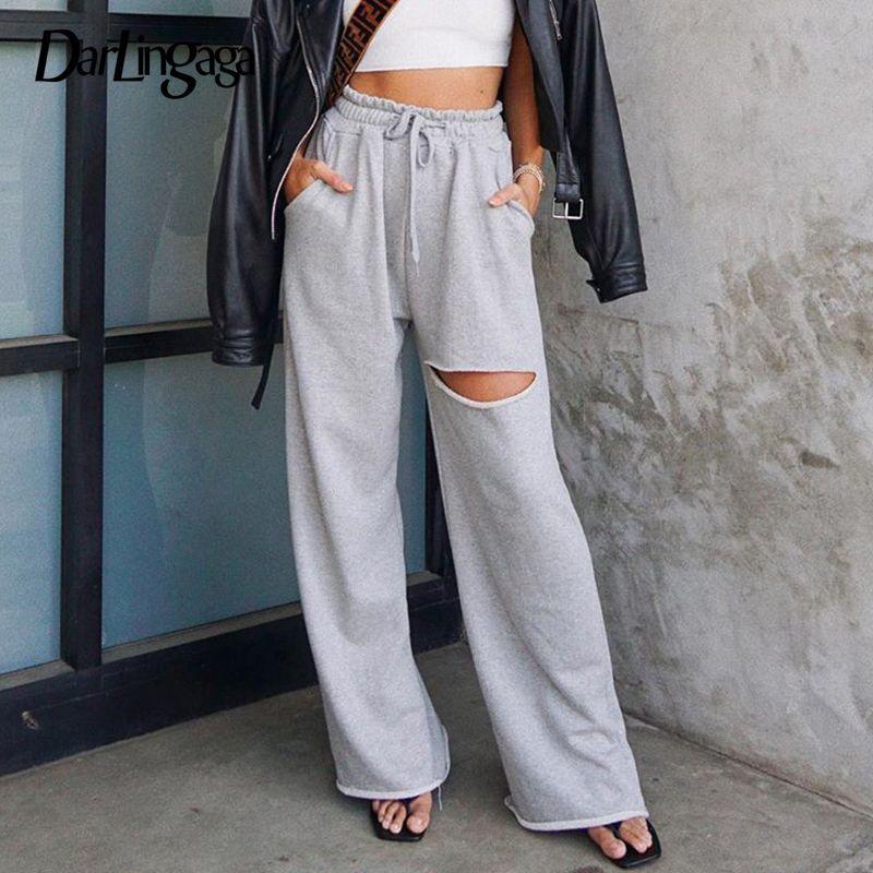 Darlingaga Streetwear Loose Hole High Waist Pants Sweatpants Women Drawstring Ripped Trousers Straight Wide Leg Pants Pantalones