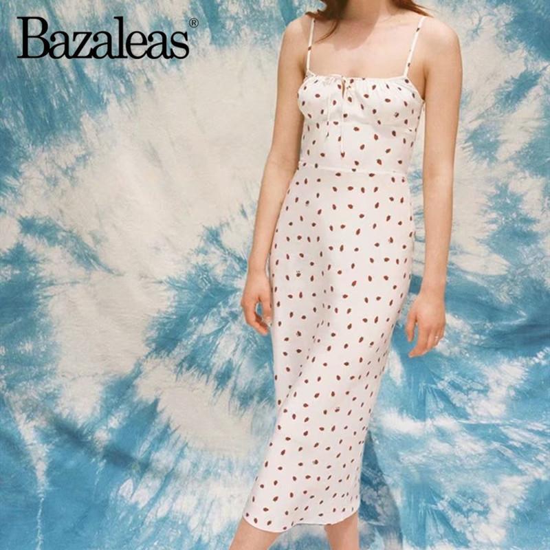 Bazaleas Verstellbare Spaghetti-Träger-Sommer-Kleid 2020 Sexy midi vestidos Mode Erdbeere Print Frauen Kleider