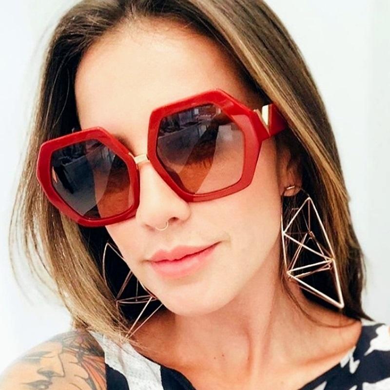 المرأة ساحة نظارات الوافدين الجدد الرجعية نظارات شمس إمرأة مصمم الفاخرة النظارات الحمراء الإطار البني gafas دي سول