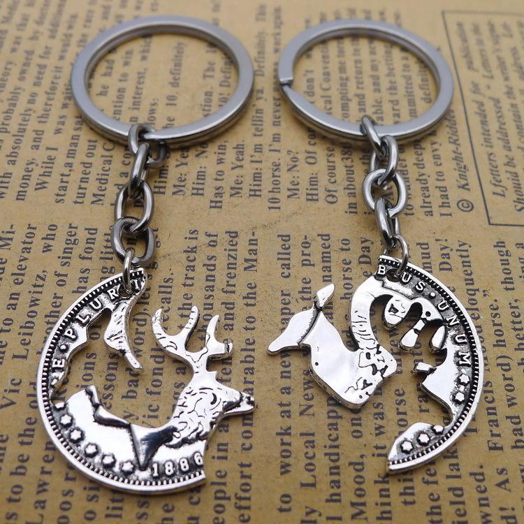 Lega Uno dei cervi Insieme Un cervo Yes You chiave pendente fibbia argento antico ornamenti Parts
