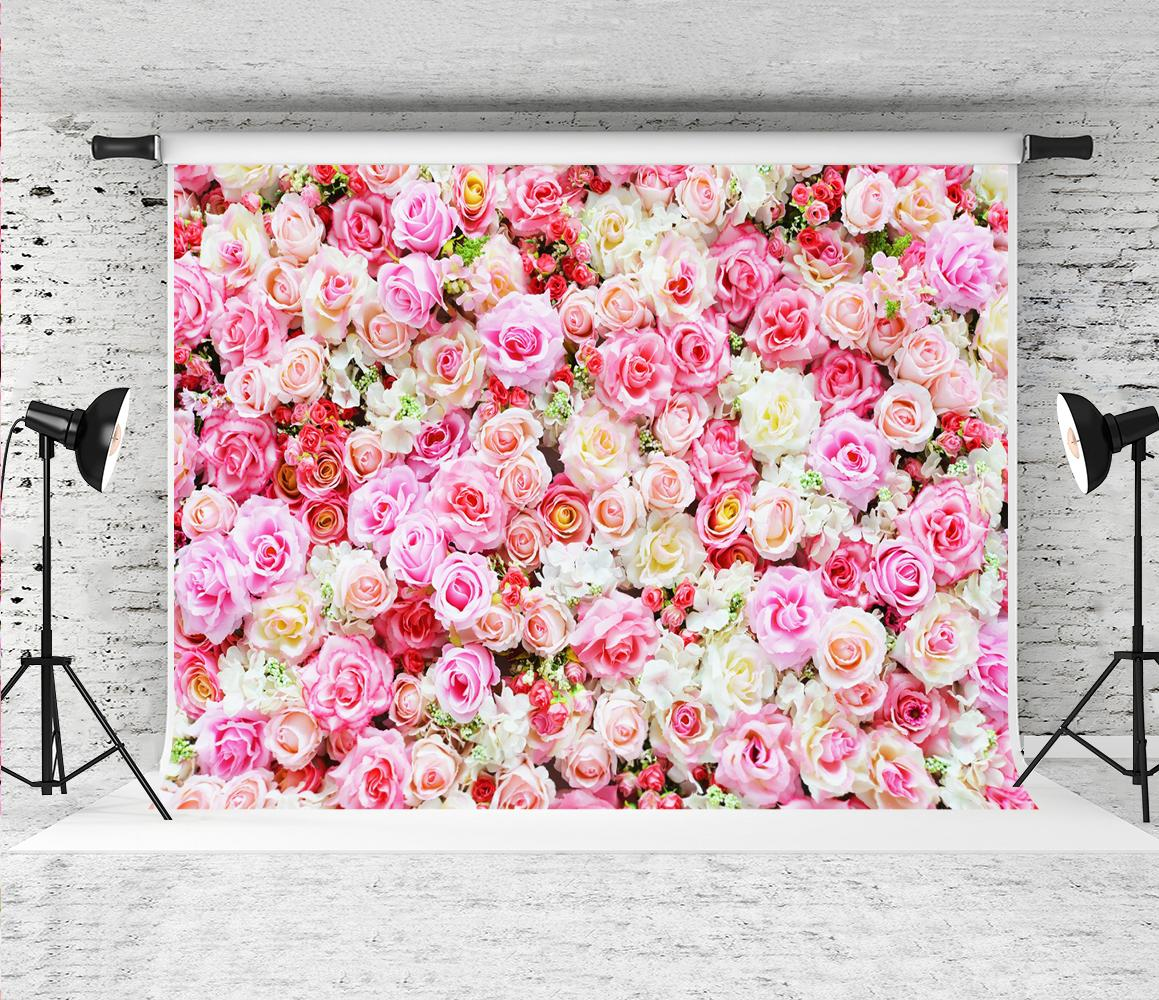 2020 Pink Flowers Wall Photography Backdrop Romantic Rose Photo
