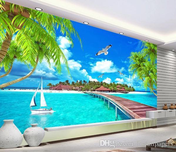 Fondo de pantalla personalizado playa Coco Egeo Selva Tropical televisión moderna del fondo del sofá de la sala 3d Wallallpaper Para estar Dormitorio