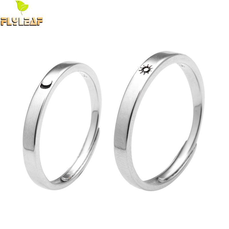 Anelli dell'argento sterlina di Sun Moon Sun del sole di foglia per le donne Gioielli di qualità degli anelli dei monili dell'anello aperto delle coppie di modo di alta qualità