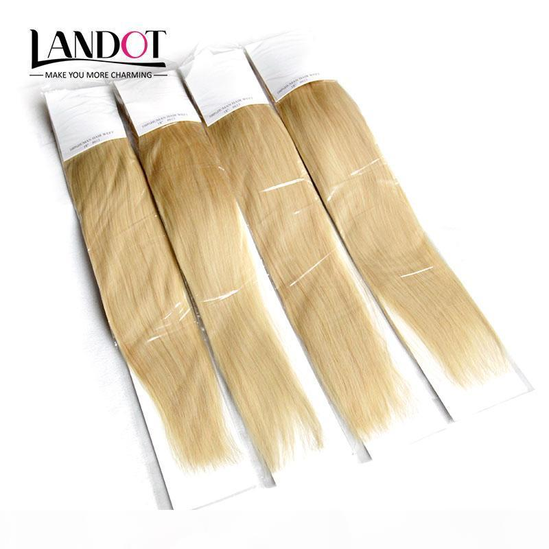 Brezilyalı Düz Bakire Saç Sınıf 8A Renk # 613 Bleach Blonde İnsan Saç Dokuma Paketler Brezilyalı Remy Saç Uzantıları 3 4pcs Çift atkıları