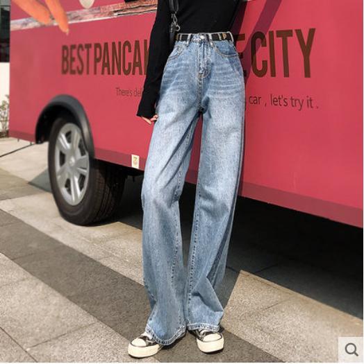 Compre El Objeto Azul Mujer Jeans Sueltos Mostrar El Fino Pantalones Anchos De Piernas Sensacion De La Cintura Pantalones Altos De Fregar El Suelo A 32 85 Del Poluoo Dhgate Com
