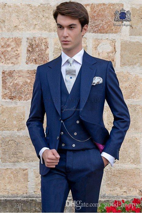 Yeni Varış Lacivert Erkekler Düğün Smokin Çentik Yaka Iki Düğme Damat Smokin 2019 Stil Erkekler 3 Parça Suit (ceket + Pantolon + Kravat + Yelek) 2069