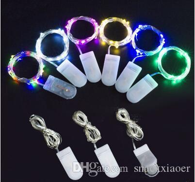 3 M 30LEDs 5 M 50LEDs Botão CR2032 Alimentado Por Bateria de Fio de Cobre luz Festa de Natal Xmas Luzes Do Partido Decoração de Casamento Decoração Luz