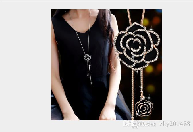 Korean version of high-grade crystal autumn and winter wild tassels sweater chain long jewelry accessories