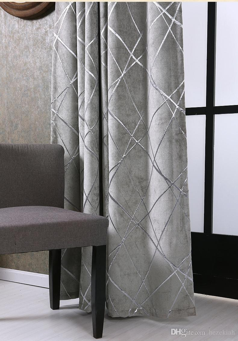 2019 Simple Modern Bedroom Balcony Living Room Villa Grey Thick Chenille Silver Jacquard Blackout Curtain Water Cube Free Installation From Hezekiah