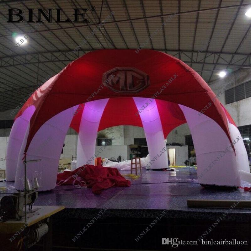 capa vermelha de marca 6 pernas tenda aranha inflável com iluminação LED inflável partido tenda cúpula tenda inflável para promocional