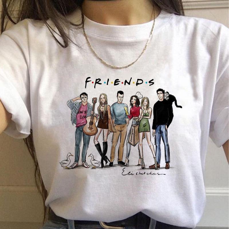 2020 new Friends Tv Shows Horro Harajuku TShirts Women rletter Best Friends 90s Tshirt Fashion Graphic Top Tees Female