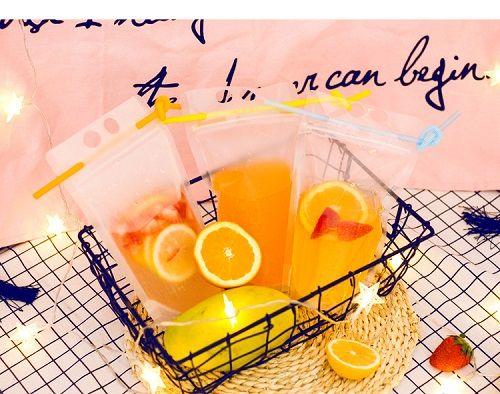 Пейте сумки Сумка Transparent Zipper Стоячего Пластиковый Питьевой мешок с соломой с держателем Многократно закрывающимся жаропрочной 17oz