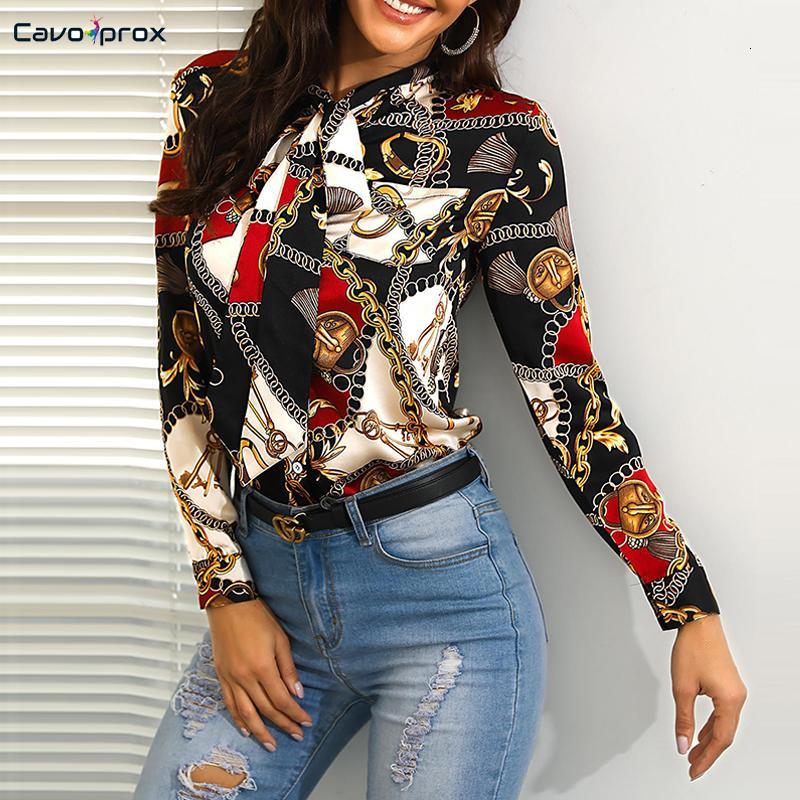 여성 묶여 목 체인 인쇄 캐주얼 셔츠 전체 소매 활 앞 사무실 레이디 스트리트 긴 소매 봄 가을 패션 셔츠 SH190906