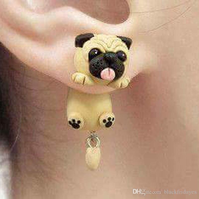 Handmade del polimero sveglia molle Sharpei Pug Dog orecchini per le donne del fumetto degli animali piercing all'orecchio della vite prigioniera monili del regalo Orecchini