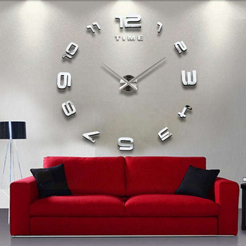 Big Número elegante Grande Relógio de parede 3D espelho traseiro original do relógio DIY Decor Hot