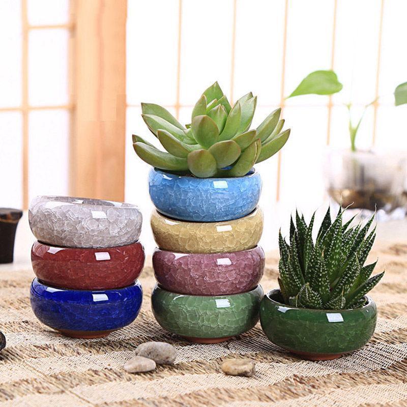 2pcs//Lot Mini Square Ceramic Succulent Plant Flower Bonsai Pot Home Desk Decor