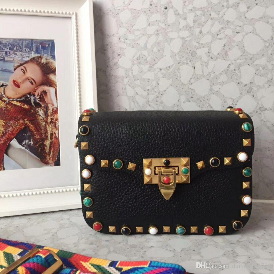 Новый европейский стиль роскошная классическая сумка чистая мода сексуальная кожа заклепки цвет драгоценный камень декоративный многоцветный опционально