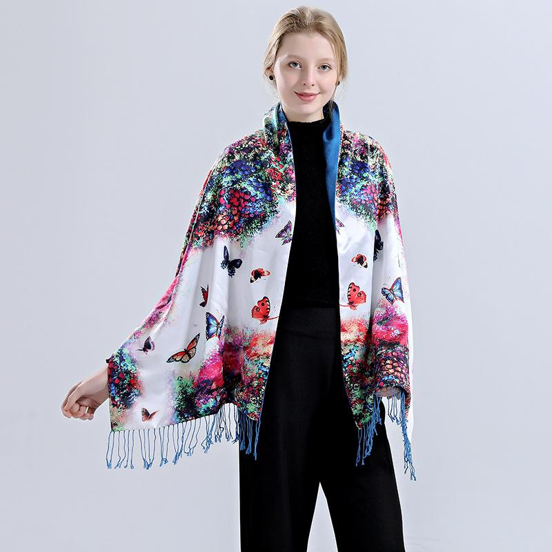 ee1ebb568 Foreign trade new autumn and winter scarves double silk cashmere shawl  women's high-end silk ...