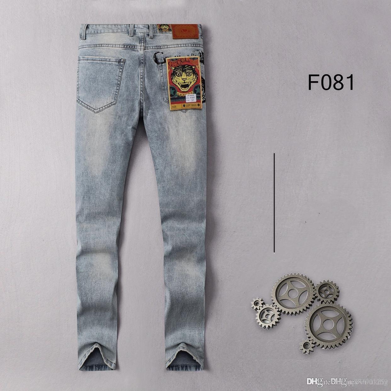 2020 Autumn Explosion Jeans Men's Fashion Embroidery Casual Slim Blue Stretch Pants Men's Pants Size 29-38 Men's Jeans Relaxe