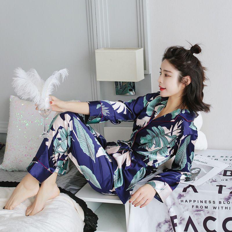 Conjuntos de pijamas 2019 mujeres del otoño con la flor impresión de la moda femenina imitación de seda Cuatro nudos Shirts + pantalones camisones ropa de dormir