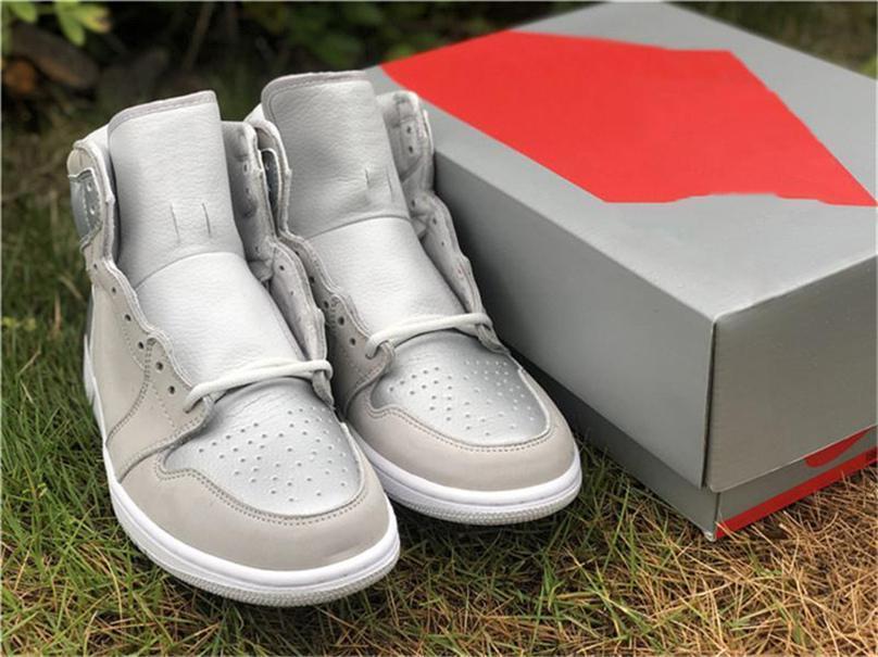 2020 venta caliente de alta OG 1 Japón 2001 2020 zapatos de baloncesto de los hombres CO.JP gris neutro blancos metálicos de plata 1S Deportes zapatillas de deporte de 7-13