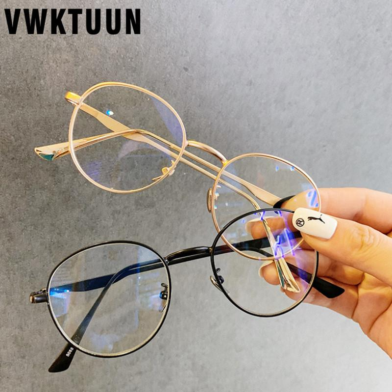 VWKTUUN Vintage gafas redondas marco mujeres lente transparente marcos ópticos miopía Metal marco ojo gafas marcos para mujeres