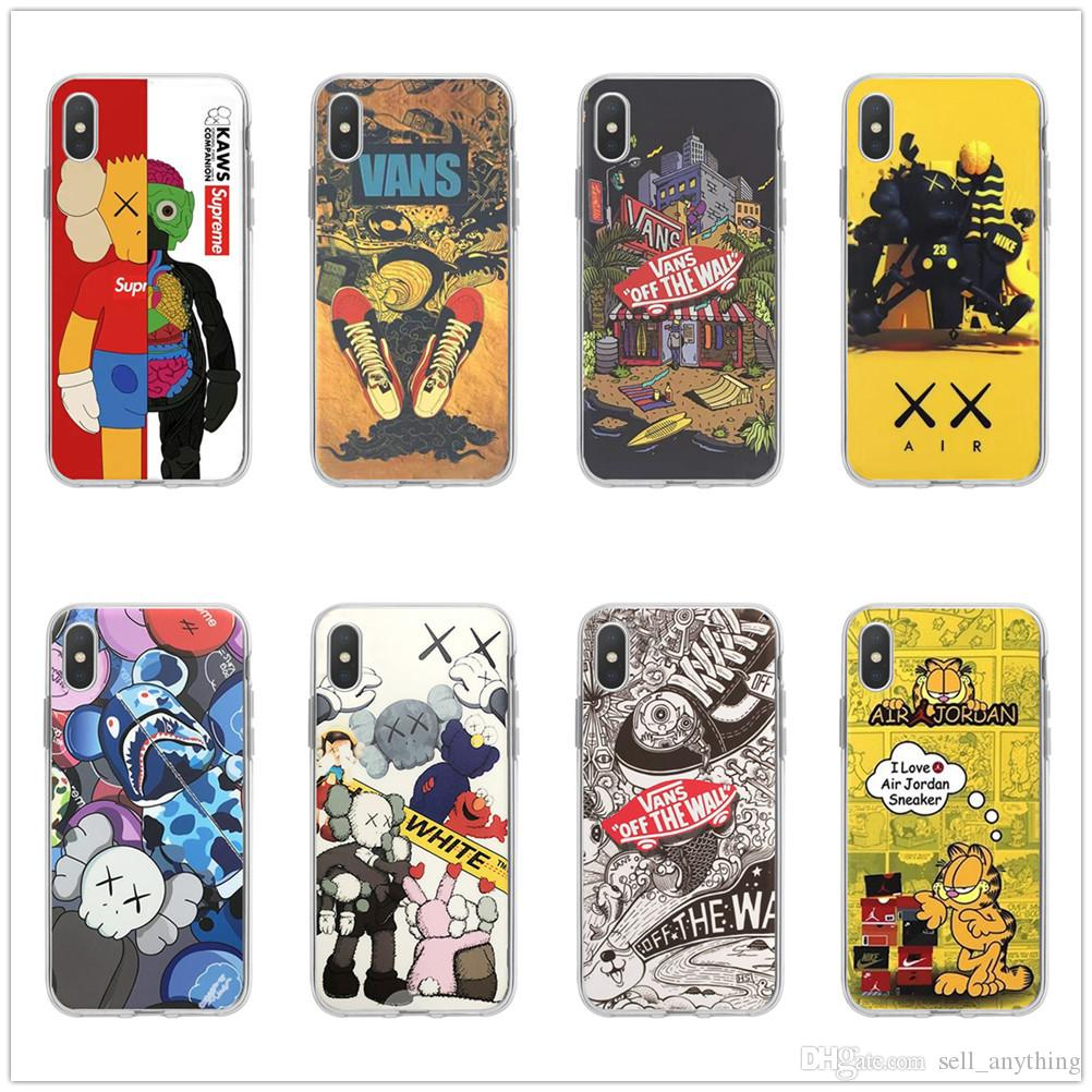 For Iphone Xr 11 Pro Xs Max Tide Brand Kaws Phone Case 6 7 8 X Plus Transparent Tpu Soft Cell Phone Cases