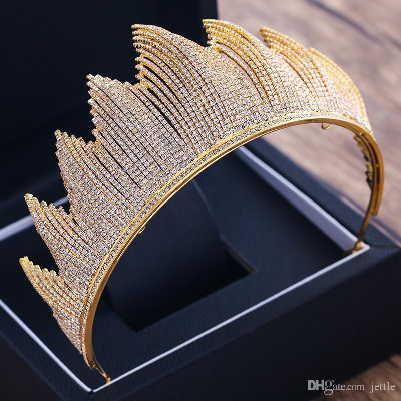 Gelin Düğün Için Büyük Taç Tiara Lüks Trendy Tam Rhinestone Kristal Kraliçe Başlığı Taç Düğün Gelin Saç Aksesuarları