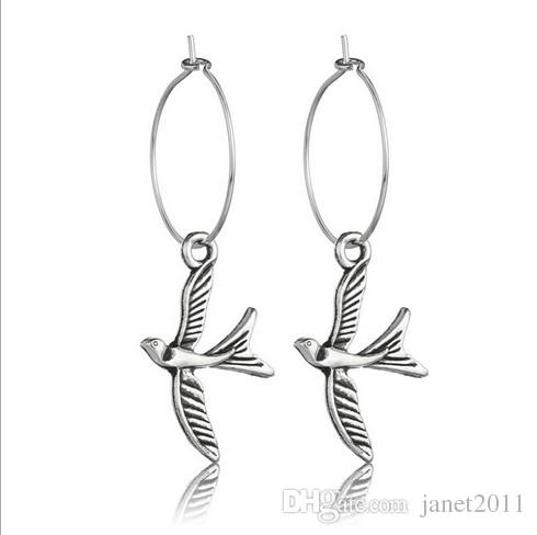 Circle Bird Earrings Antique Silver Metal Charm Of Elephant , Cross , Shell , Hamsa Hand Dangle Earrings