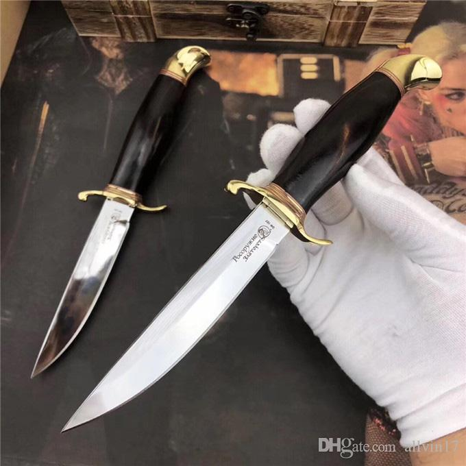 High End Survival Straight Hunting Knife D2 Satin Finish Blade Rosewood Handle Fixed Blade Collectable Knives With Leather Sheath
