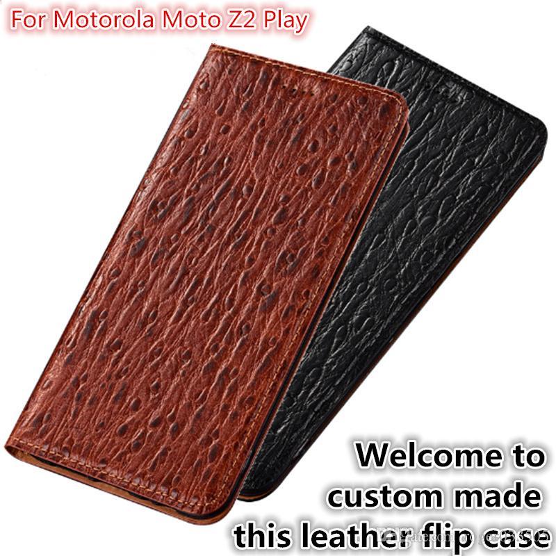 QX07 Cuir Naturel Magnétique Flip Case Fente Pour Carte Pour Motorola Moto Z2 Play Cas de Téléphone Pour Motorola Moto Z2 Play Flip Cover Kickstand