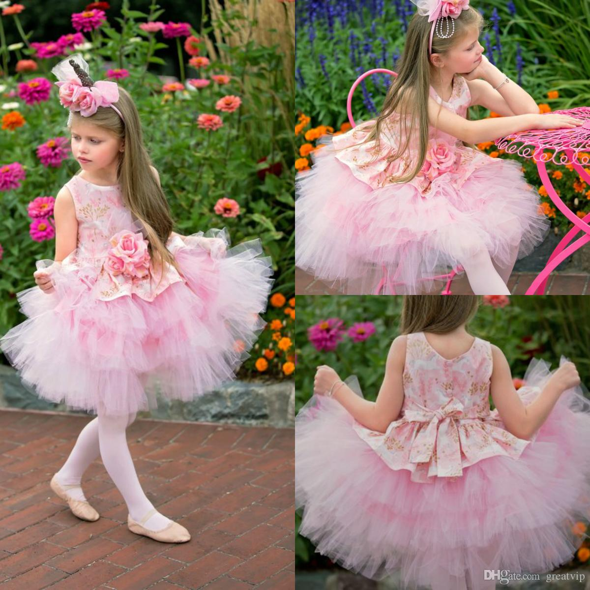 Pink Flowers Girls Dresses Jewel Ruffles Appliques Handmade Flower Toddlers Short Pageant Gowns Kids Princess Party Dress For Wedding