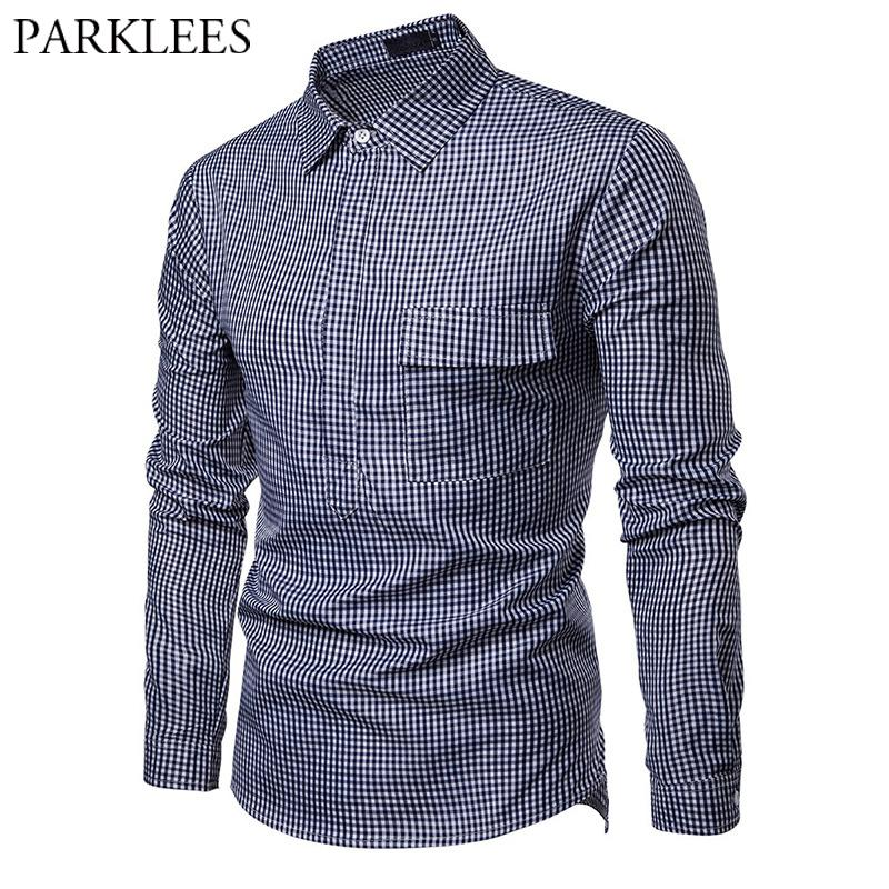 Frieed Mens Cotton Slim Fit Winter Fashion Long Sleeve Lapel Button Down Checked Flap Pockets Shirt
