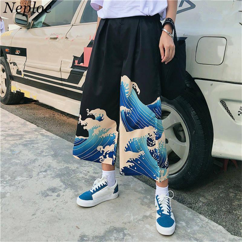 Neploe Ulzzang pantalones casuales 2019 verano japonés Harajuku ocio pantalones sueltos mujer de dibujos animados impreso pantalones de pierna ancha 35609 Y19051701