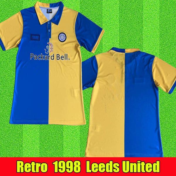 Leeds United Soccer Retro camisola 1998 1999 Vintage afastado azul e amarelo do futebol camisas clássicas 98 99 # 12 Hopkin # 9 Hasselbaink