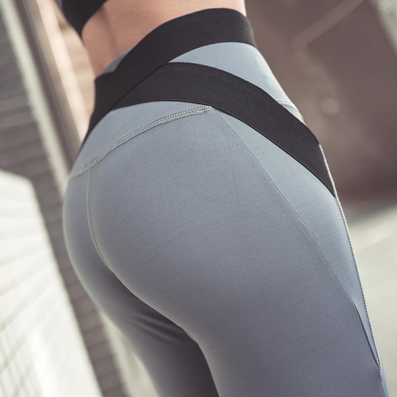 hohe elastische Yogahosen weibliche Fitness-Hosen weibliches hohe Taille Yoga Strumpfhosen Sport Hüfthose leguing Fitness Laufen