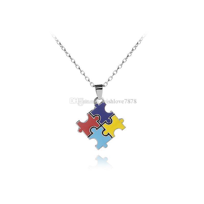 Novo Jigsaw Cruz Clássico Quadrado Colorido Esmalte Vermelho Azul Enigma Correspondente Pingente de Colar de Jóias Unissex Autistic