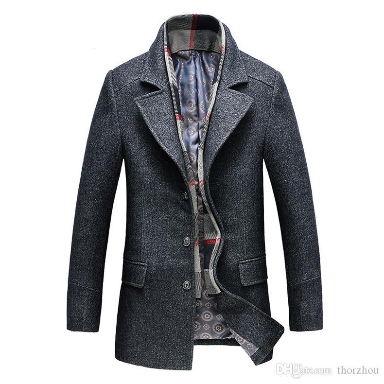 Sonbahar Kış Tek Göğüslü Yün Palto erkek modası Yün Ceketler Turn-down Yaka Yün Karışımlar paltolar