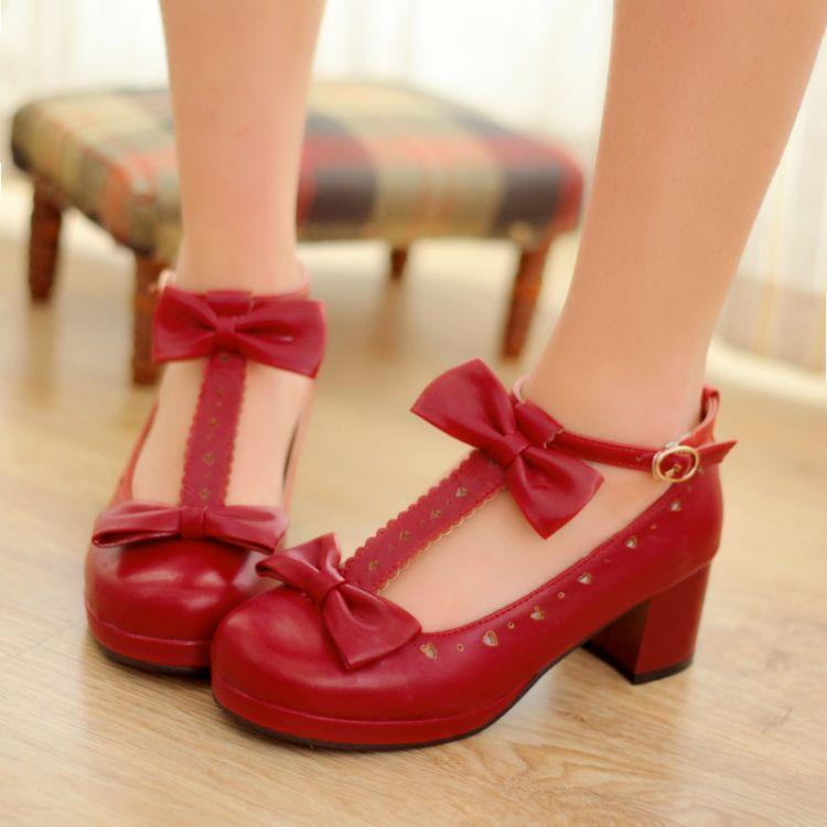 US4-11 Womens Lolita Cute T-strap Bowknot Round Toe Chunky Heel Shoes Mary Janes Sweet Pumps Summer Plus Size A307