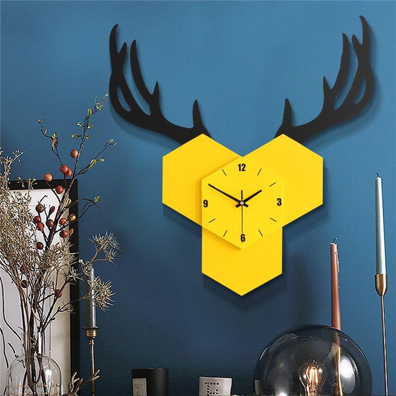Giallo Deer Orologi da parete creativo Grande animale creativo elegante orologio da parete Soggiorno Nordic Reloj Cocina decorazione domestica SS50WC