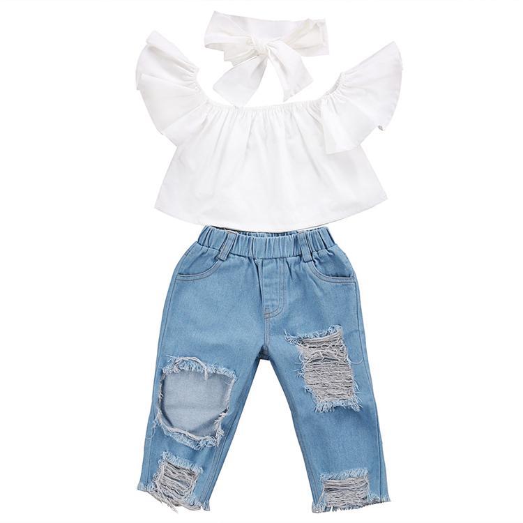 Sommerbaby-Kinderkleidung stellte weiße Spitze der Fliegenhülse + zerrissene Jeans-Denim pants + bows Stirnband 3pcs Sätze Kinderdesigner-Kleidungs-Mädchen JY352 ein