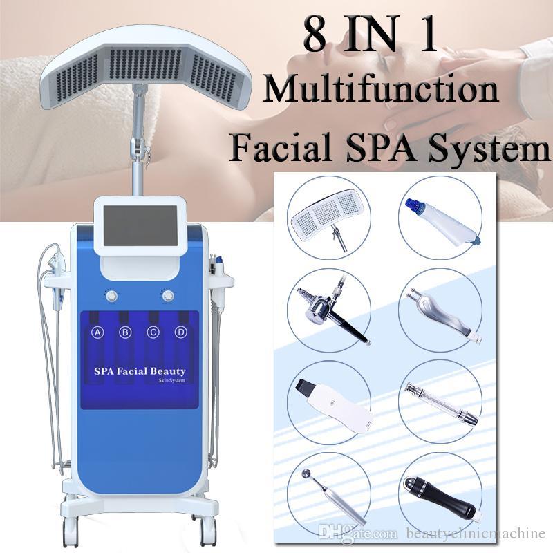 hydro dermabrasion facial machine 8 IN 1 Water Oxygen Jet BIO الموجات فوق الصوتية آلة اللوازم الطبية Hydro Peel Hydrafacial Dermabrasion