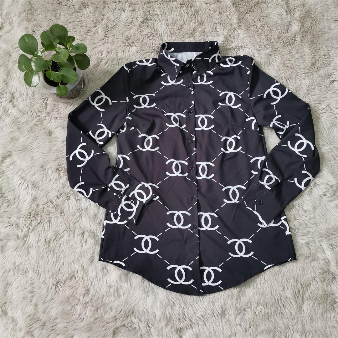 Moda tapas de las mujeres de la solapa Impreso de manga larga camisas resorte y señoras de otoño solo pecho de la blusa marca con Loose tipo de blusas 9077