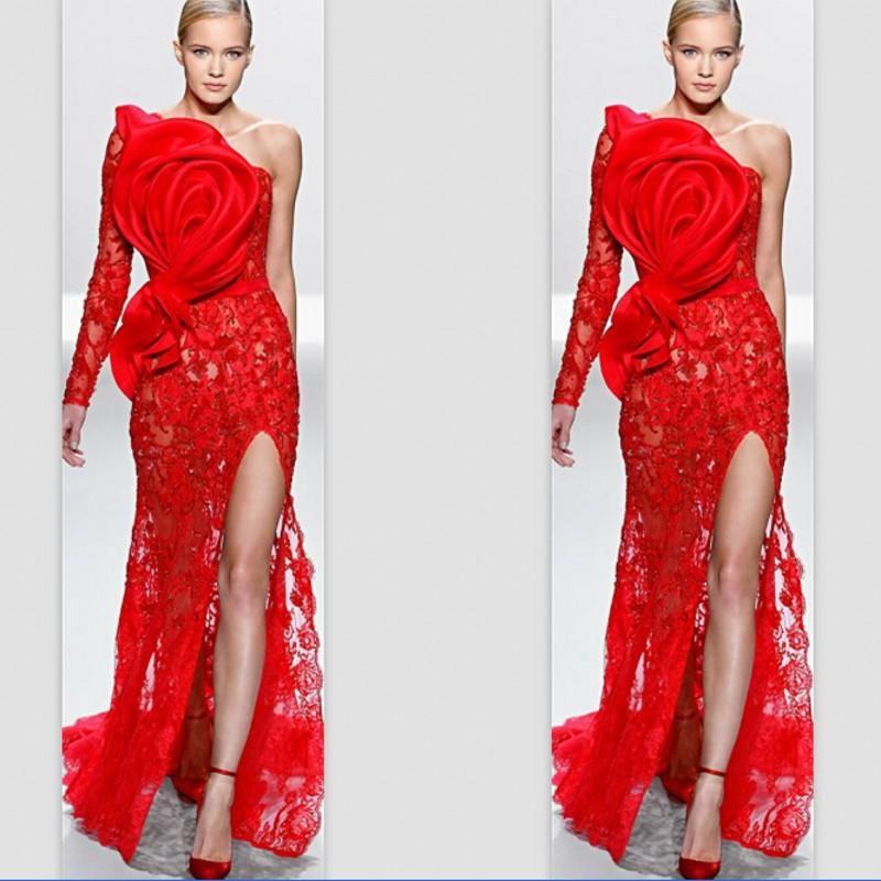 Abiye giyim Bir Omuz Tek Kollu Kırmızı Dantel Büyük Yay Aplike Ön Bölünmüş Balo Ünlü Elbiseleri Özelleştirmek
