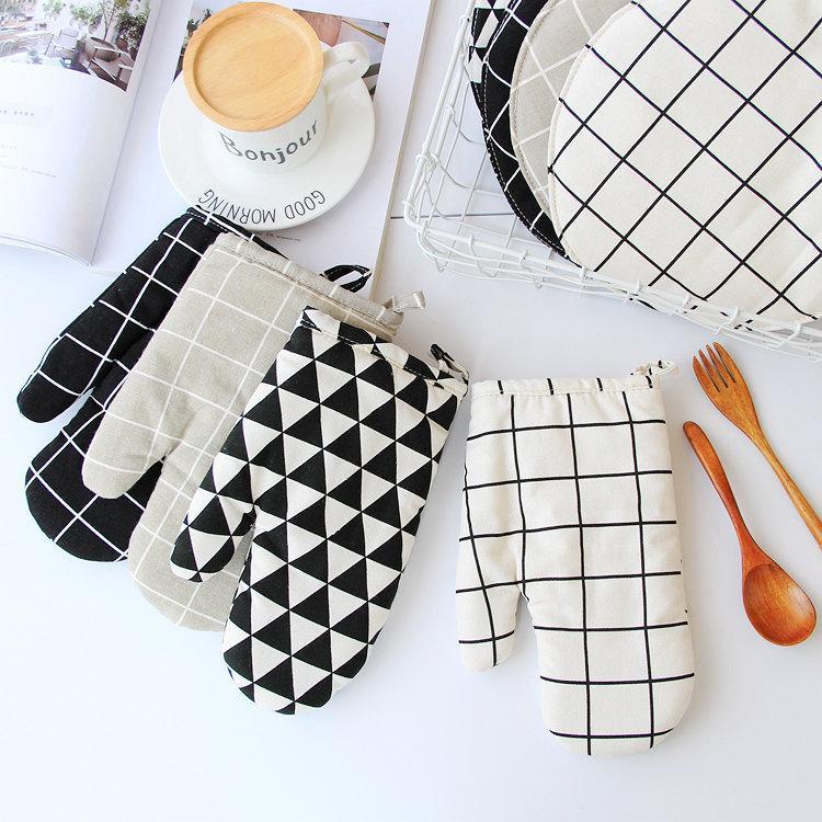 Hızlı Mutfak Pişirme eldiven ücretsiz fırın eldiveni ve paspaslar üzerinde pamuk kenevir ısı yalıtım eldiven mat Nakliye