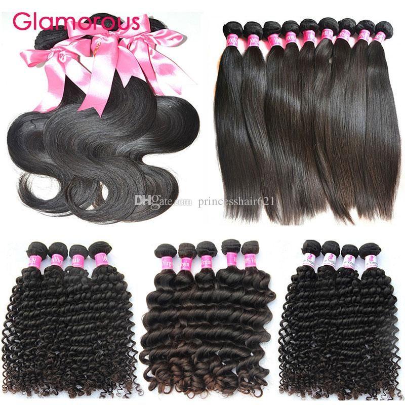 Glamorous 10 adet / grup İnsan Saç Örgüleri Toptan 8-34 inç Brezilyalı Saç Paketler En Popüler Düz Vücut Dalga Kıvırcık İnsan Saç Uzantıları