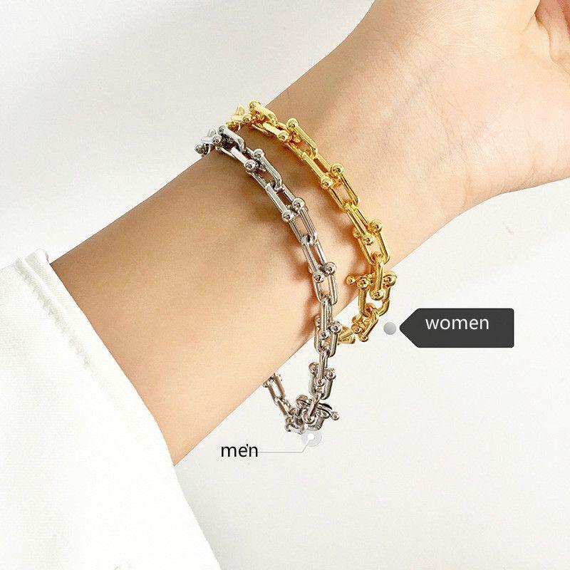 316L en acier inoxydable plaqué or u lettre chaîne bracelets pour femmes hommes nouvelle arrivée vente chaude nouveau luxe bijoux de mode