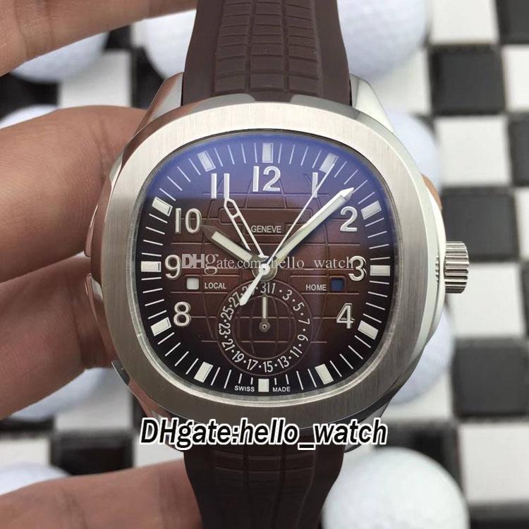 Nuovo 5164R-001 Dual Time Extra grande quadrante marrone Automatico orologio da uomo in acciaio 316L Cinturino in acciaio Gents Sport Orologi PPHW Hello_Watch